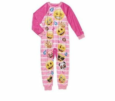 New Girls' Onesie One Piece PJ Pajama EMOJI EXPRESSIONS SZ 4-5 6-6X 7-8 10-12