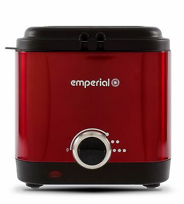 Emperial Deep Fat Fryer Red 1.5 Litre Non Stick Chip Pan Oil Fry 900W