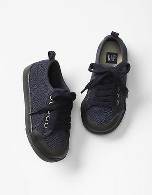 GAP Baby / Toddler Boys NWT Size 10 Blue / Black Herringbone Sneakers Shoes