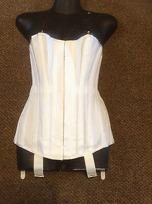 """NWO Tags white Vintage Made in Britain 28"""" corset girdle w garters lace back"""