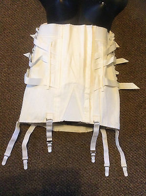 "NWO Tags white Vintage camp 36"" corset girdle w/ 6 garters & buckles lace sides"