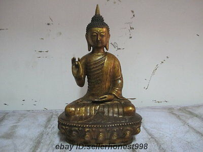 11 Tibet Buddhism Temple Hall Sakyamuni Buddha Copper Bronze statue