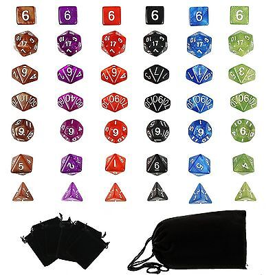 6 Set Polyhedral RPG Game Dice 6 Colors 4D 6D 8D 10D 12D 20D 42pcs & 7 Bags