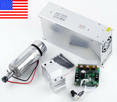CNC 0.4KW Spindle Motor 400W + Mach3 PWM Module +Mount+ Power Supply 48V 10A
