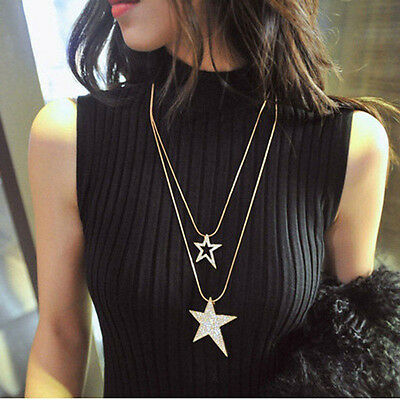 Women Lady Double Layered Long Chain Double Chains Star Pendent Necklace