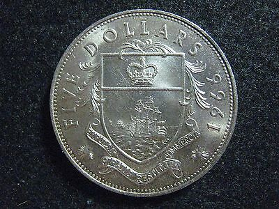 1966 Bahamas Islands 5 Dollars Large Silver Choice BU Round KM 10 Nice !!