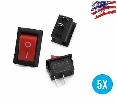 US Ship 5pcs RED Rocker Switch KCD1-101 250V 6A Boatlike Switch 2PIN ON OFF