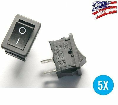 US Ship 5pcs BLACK Rocker Switch KCD1-101 250V 6A Boatlike Switch 2PIN ON OFF