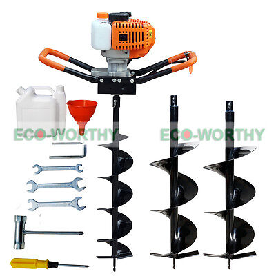"4""/ 8""/10"" Earth Auger + 2.2HP 52cc Gas Powered Post Hole Digger Fence Drill"