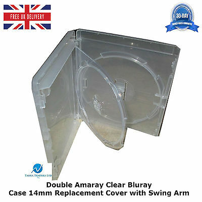 1 X Double Amaray Clear Blu ray Case 14mm Spine with Inner Swing Tray Cover NEW