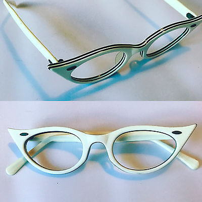 White and black cat eye eyeglass frames, vintage 1950s cateye glasses eyeglasses