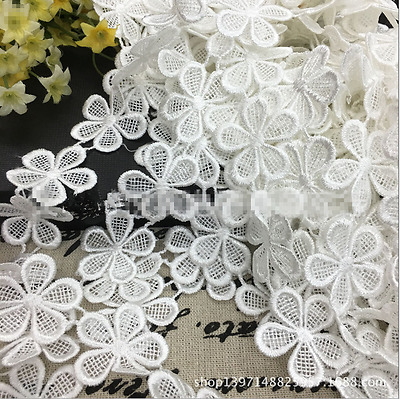 3 yards White Flowers Cotton Crochet Lace Trim Wedding dress clothing accesories