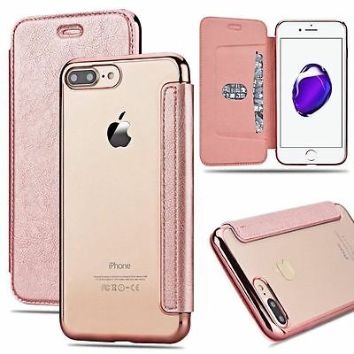 New for iPhone 7 Plus Slim Leather Flip Wallet Case Clear Silicone Bumper Cover