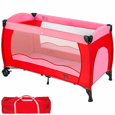 Baby Travel Cot Bed Portable Child Playpen Children Rest Play Foldable Pink