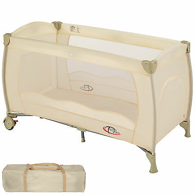 Baby Travel Cot Bed Portable Child Playpen Children Rest Play Foldable Beige