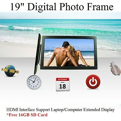 "19"" LED HD 1080P Digital Photo Frame as Extended Monitor Free 16GB SDcard Remote"