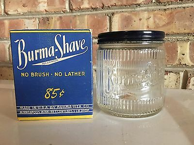 Vintage Burma Shave Jar With Original Box 1lb Size .