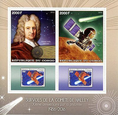 Congo 2016 MNH Halley's Comet Halley 2v M/S Space Astronomy Stamps on Stamps