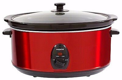 Emperial Red Slow Cooker Premium 6.5L Pot + Removable Oval Ceramic Inner Bowl