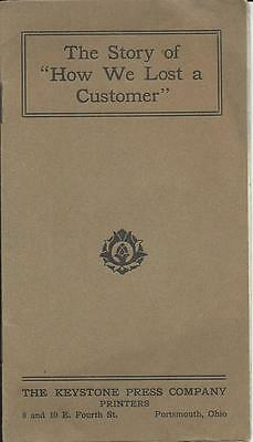 1900s Portsmouth Ohio Keystone Press Co Pamphlet Story of How We Lost a Customer