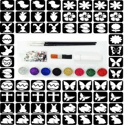 Glitter Tattoo Kit 2A - 88 Large Easter Stencils Glitter Glue Gem Brush Girl Boy