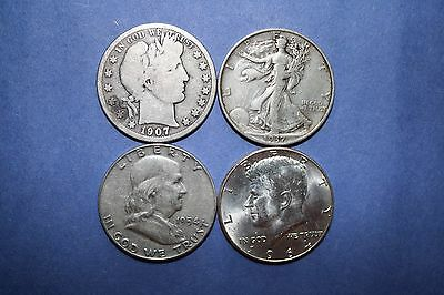 Barber/Walking Liberty/Franklin/Kennedy Half (4) Coin Lot: A