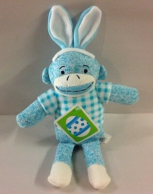 Sock Monkey Easter Bunny Plush Blue Gingham Stuffed Animal Basket Toy Gift New
