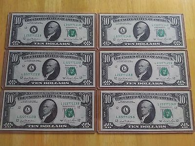 $60 of CONSECUTIVE $10 BILLS 1981 Uncirculated CURRENCY Serial Number Mint NEW