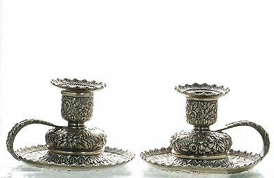 Antique Tiffany & Co Pair of Sterling Silver Repousse Chamber Candlestick Holder