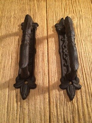 """Large Door Handle Pulls Ornate  Cast Iron 9"""" long (Set of Two) 0184-0015"""