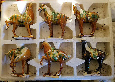 """Vintage Ceremic Tang Style War horses, set of 6, 6"""""""