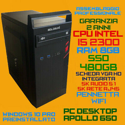 COMPUTER ASSEMBLATO PC FISSO DESKTOP INTEL Core i5-650 RAM 8GB HDD 1TB DVD-RW