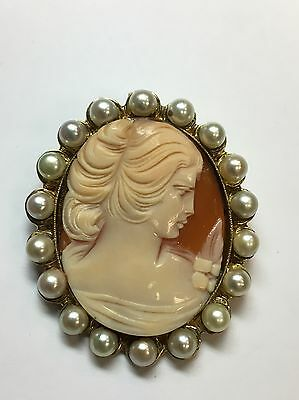 Gold 50x43mm Vintage Carved Shell Cameo Pin/Pendant Gem Stone Antique 18 Pearls