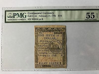 Continental Currency February 17, 1776 $1/6 PMG: 55 EPQ RARE!!!