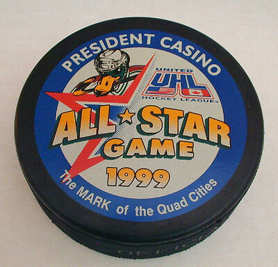 1999 UHL All-Star Game Hockey Puck - Quad City Mallards - Paul Willett MVP