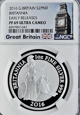 2016 UK  2 pound silver Britannia 1oz proof NGC  PF69 UCAM Early Releases