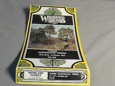 "WOODLAND SCENICS HO Bandebale Metal TK25 Hardwood Trees (3) 5 1/2-6 1/2"" New in"