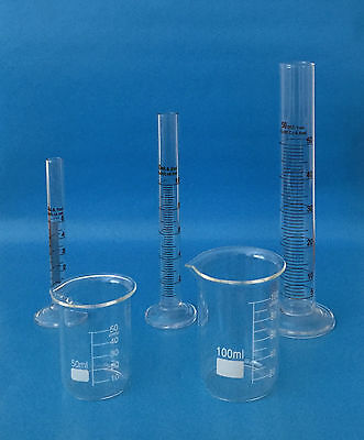CYLINDERS GRADUATED 5 10 50 mL BEAKERS 50 100 mL BOROSILICATE GLASS LAB NEW