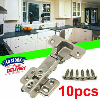 10X Door Hinge Cabinet Cupboard Hinges Soft Close Full Overlay Wardrobe Kitchen