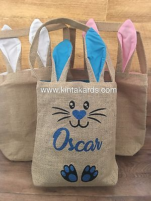 Easter Bunny Ear Burlap Bag Bucket Personalised with name