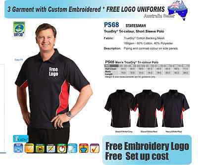 From 3 - 25  Custom Team Polo shirts with Your Embroidered LOGO (WS PS68)