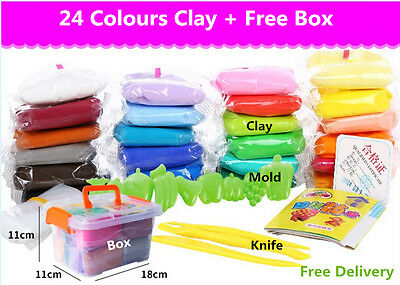 24 pcs Colorful Soft Clay Plasticine Craft DIY Modelling Kids Toys