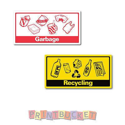 Recycling & Garbage stickers for bin  7 year vinyl water & fade proof oh&Ss