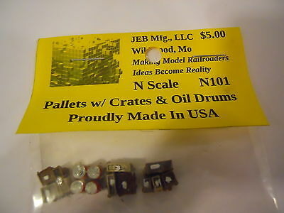 JEB Mfg N Scale Details: N101 Pallets with Crates & Oil Drums