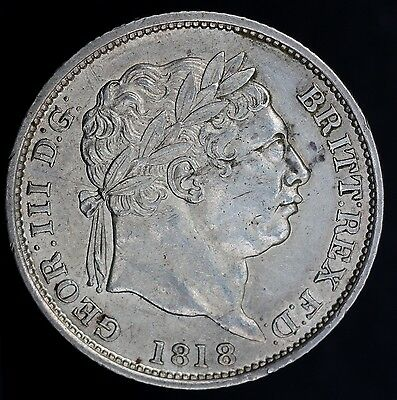 1818 Rare Higher 8 - George Iii Silver Shilling Coin - Extremely High Grade