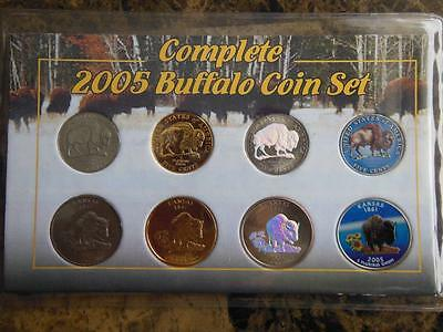 2005 Buffalo Coin Set; Nickel & Quarter - Colorized Hologram Gold Plated