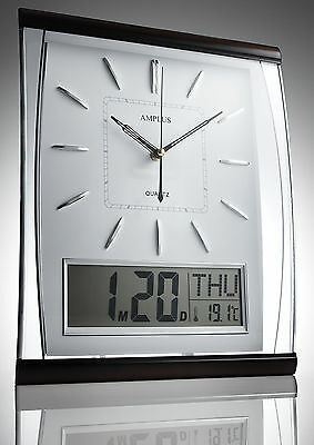 Amplus Silent Digital Wall Clock Jumbo Large Display Day & Date White