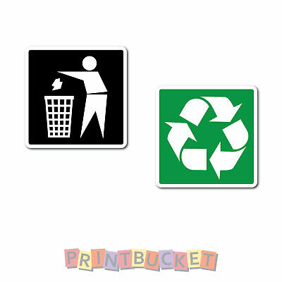 Recycling & Garbage icon stickers for bin  7 year vinyl water & fade proof oh&Ss