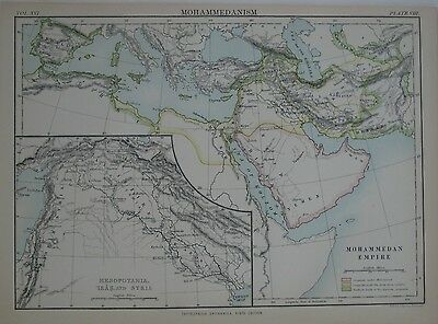 Original 1878 Johnston Map MUSLIM EMPIRE Conquests Mohammed 3 Caliphs Saracens