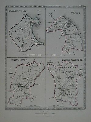 Original 1835 YORKSHIRE Borough Map Scarborough Whitby New Malton North Allerton